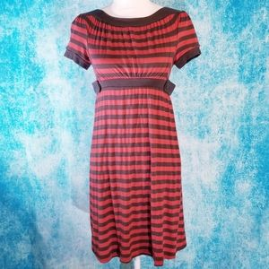 Ella Moss Red and Brown Striped Jersey Dress